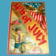 4th Of July Postcard (Boy With Flag & Cannon)