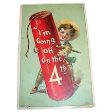 I'm Going Off On The 4th Postcard (Boy with Large Firecracker)