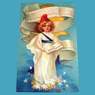 My Country 'Tis Of Thee Postcard (Little Lady Of Liberty Girl)