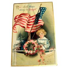 Clapsaddle: Nor Shall Their Story Be Forgot Postcard (Boy With Flag & Wreath)