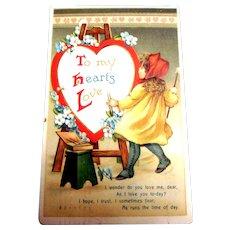 To My Heart's Love Postcard (Little Girl Artist & Valentine)