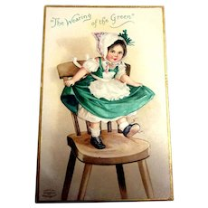 The Wearing of the Green Postcard (Little Irish Girl Dancing on Chair)