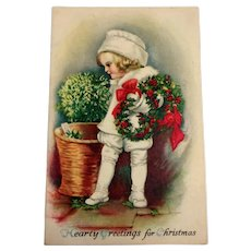 Hearty Greetings for Christmas Postcard - 1922