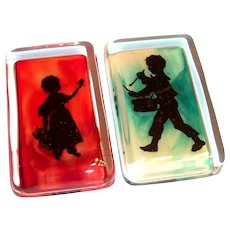 Reverse Painted Shadow Glass Paper Weight