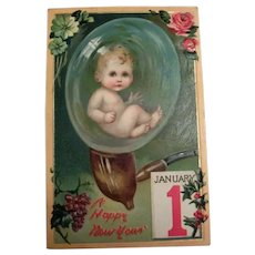 A Happy New Year Postcard (New Year Baby In A Bubble)
