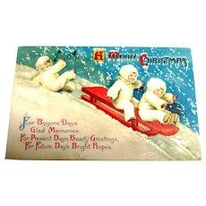 A Merry Christmas Postcard (Snowbunnies Sliding)