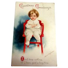 Christmas Greetings Postcard - Clapsaddle