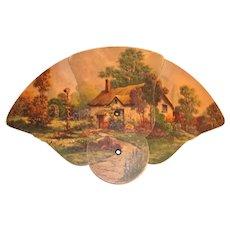 Advertising Folding Cardboard Cottage Design Fan - 1933