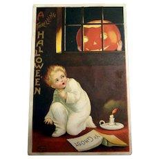 A Thrilling Hallowe'en Postcard (Boy Scared Of Pumpkin in Window)