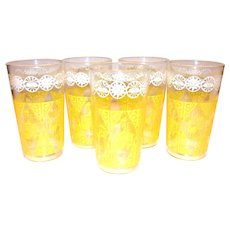 Yellow & White Coupla & Rooster Design On Clear Drinking Glass