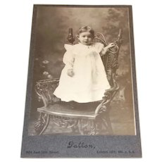 Victorian Picture Of A Toddler Standing On Chair