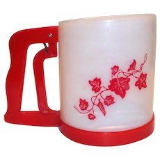 White With Red Trim & Ivy Design Plastic Flour Sifter