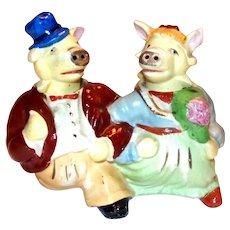 Mr. & Mrs. Pig Anthropomorphic Nodder Salt & Pepper Set