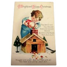 A Bright And Happy Christmas Postcard (Little Boy Filling Chimney With Candy)