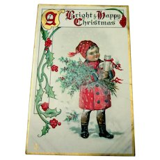 A Bright & Happy Christmas Postcard (Boy Holding Holly & Berries)