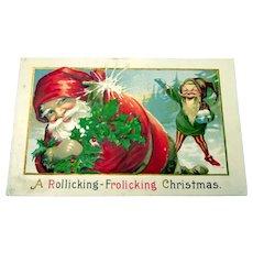 A Rollicking-Frolicking Christmas Postcard - Santa Claus