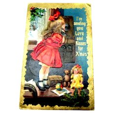 I'm Sending You Love & Kisses For Xmas Postcard