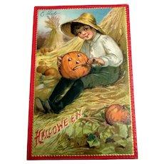 Hallowe'en Postcard - 1910 - Boy Carving Pumpkin