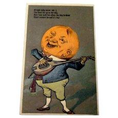A Right Jolly Moon Postcard - Anthropomorphic Halloween Moon Man