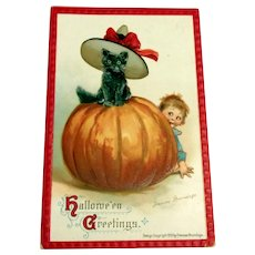 Brundage: Hallowe'en Greetings Postcard - Cat on Pumpkin