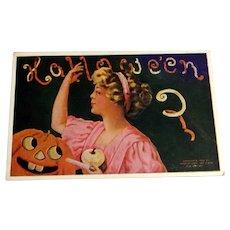Vintage Hallowe'en Postcard - Lady Peeling Apple - 1910