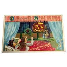 Hallowe'en Greetings Postcard - Girls Scared of Pumpkin