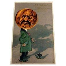 All Hallowe'en Postcard - Anthropomorphic Pumpkin Head Man