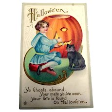 Vintage Hallowe'en Postcard - Boy In Blue Carving Pumpkin