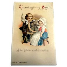 Thanksgiving Day Postcard John Alden & Priscilla