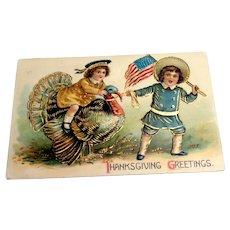 Thanksgiving Greetings Postcard (Boy Pulling Turkey)
