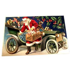 Merry Christmas Postcard (Santa with Toys & Jalopy)