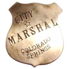 City Marshal, Colorado Springs Metal Badge
