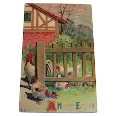 A Happy Easter Postcard (Rooster With His Hens)