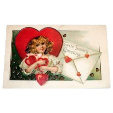 True Love's Greeting Valentine's Postcard (Girl with Large Letter)
