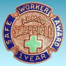 Armco Sheffield 1 Year safe Worker Award Pinback