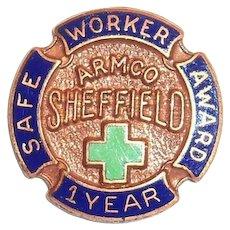 Armco Sheffield 1 Year safe Worker Award Pinback