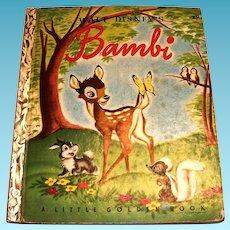 """Little Golden Book: Walt Disney's """"Bambi"""" - 1948"""