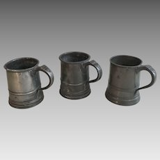 Three 3 antique English 19th Century pewter pint ale tankards
