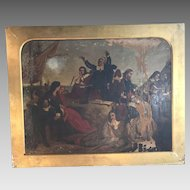 Antique Georgian painting of The Pilgrim Fathers