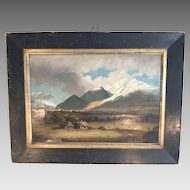 Antique 19th Century oil landscape painting of the Andes