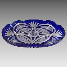Antique Bohemian Cobalt Blue Glass cut to clear dish