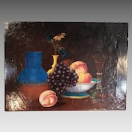 Antique 19th Century still life in oil of fruit bowl and fluted glass by Francis Rothwell