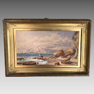 Antique 19th Century seascape watercolour of cliffs and ships in port