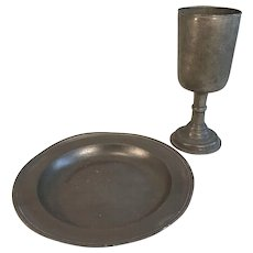 Antique English pewter religious Christian communion emblems set bread plate wine goblet cup
