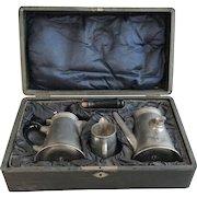 Antique German Basse & Fischer boxed pewter coffee set