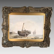 Antique 19th Century seascape watercolour of beach scene