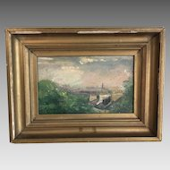 Antique 19th Century landscape in oil on board roof tops