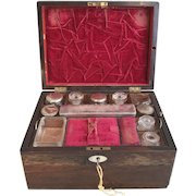 Antique 19th Century Victorian travelling boxed vanity set with secret drawer and key