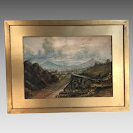 Antique Irish watercolour landscape Great Sugar Loaf Wicklow Mountains Ireland by NOL Curis dated 1924