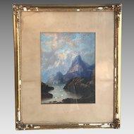 Antique 19th Century watercolour landscape seascape by EE West